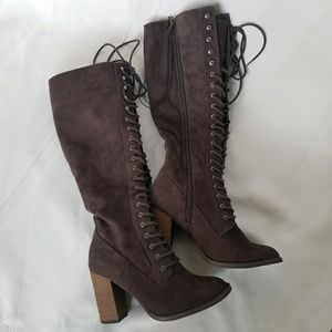 1965dc2a91a5 a new day Shoes - (A NEW DAY) Marni Lace Up Heeled Tall Boots